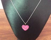 Swarovski Pink heart Pendant necklace, Swarovski, pendant, necklace, Made in Canada, jewelry, Laska Boutique, heart