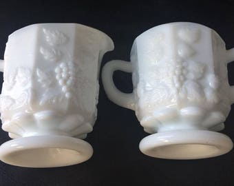 Vintage Westmoreland Milk Glass Creamer and Sugar