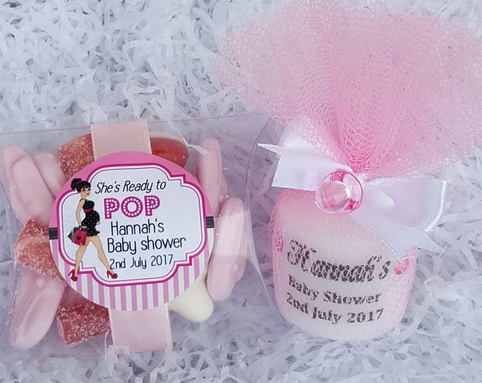 Baby shower favours personalised candle and pillow box candy package