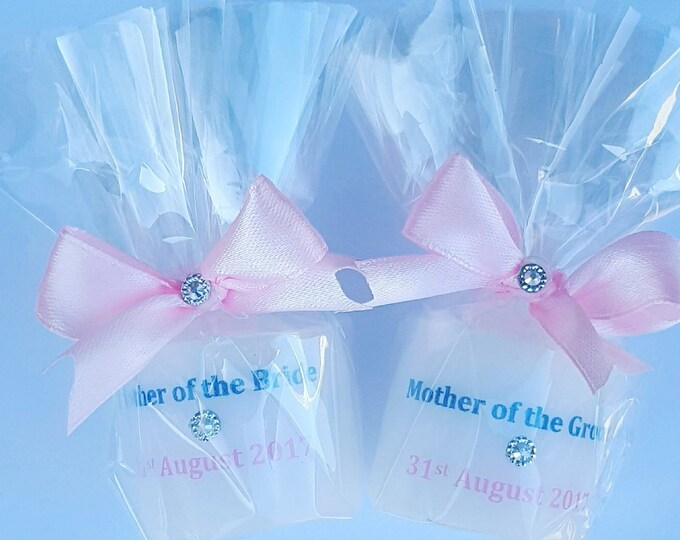 Mother of the bride Groom personalised  candle favours