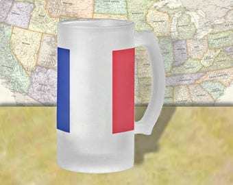 France Flag Beer Mug, Beer Stein, Country Flag, Country Pride, Beer Glass, 16 oz., Frosted Mug, Beer Thinkers, Beer Lovers, Cold Beer