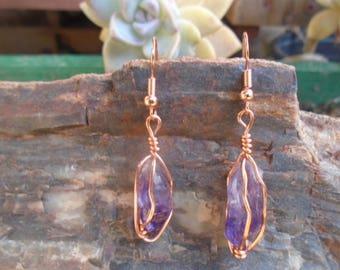 Amethyst & Copper Earrings