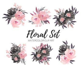 Bouquet clip art - Watercolor clip art - Pink flower clip art - floral clip art - Commercial Use