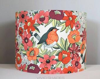 Floral bird lampshade 30cm / 35cm fabric light / lamp shade handmade by vivid shades, robin tropical drum ceiling orange vintage tall shade