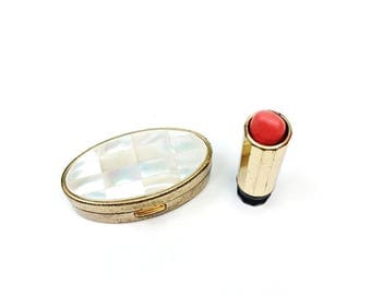 Vintage Max Factor MOP Mother of Pearl Oval Pink Lipstick Mirror Compact Case
