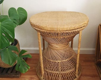 Vintage Bamboo Rattan Side Table / Stand Boho Furniture Decor: LOCAL PICK UP