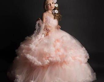 Ruffled Tulle Flower Girl Dress