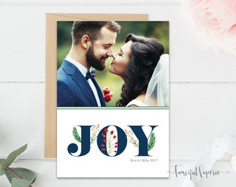 Joy Holiday Card, Christmas Holiday Photo Card, Christmas Joy, Merry Christmas Photo Card, Printable Family Holiday Card, Watercolor Fern
