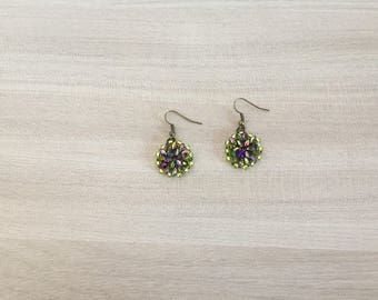 Magic Violet Green Beaded Earrings
