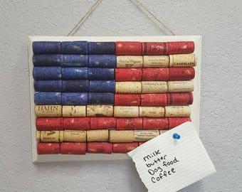 Sale, American Flag cork bulletin board, patriotic cork board, wine cork flag, wine cork message board, bulletin board, wine cork decor,