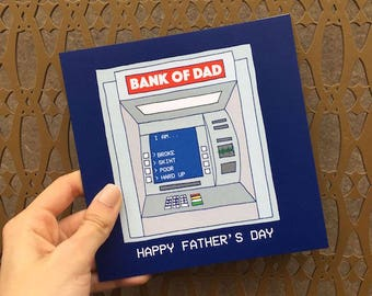 """Fathers Day Card """"Bank Of Dad"""""""