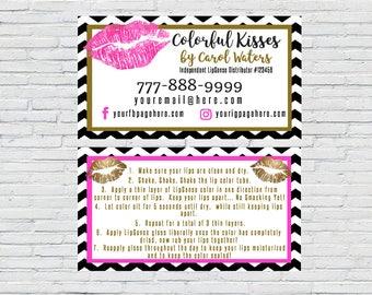 Chevron LipSense Business Card, SeneGence Business Card, Digital File, Personalized, Download, Pink Lips, Gold Lips, Independent Distributor
