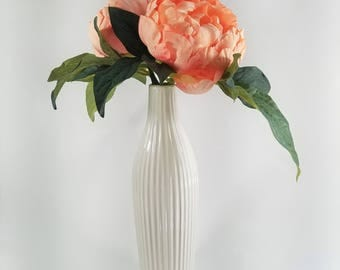 Silk, Peony, Peach/Pink , Flower, Floral Arrangement, White, Bud, Vase