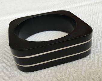 Black And White Striped Square Bangle Bracelet