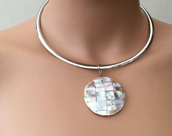 Chunky Silver Circle And Shell Drop Necklace