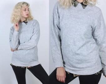Retro 80s Sweatshirt // Vintage Heather Grey Slouchy Pullover Raglan Sleeve Normcore Mens Womens - Medium