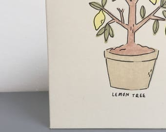 "Lemon tree hand drawn original marker card 4x4"""
