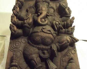 Old Panel Carving from India Portraying the God Ganesh