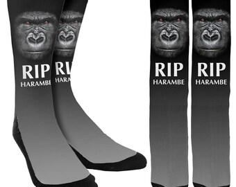RIP Harambe Crew Socks - RIP Harambe Socks - Unique Socks - Novelty Socks - 100% Comfort - FREE Shipping