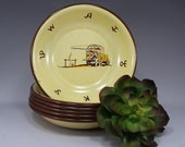 6, Bowls, Monterrey, Western, Ware, Enamel, Vintage, Cowboy, Chuck Wagon, Brands, RARE, Home Decor, Gift for Her, Gift for Him, Gift, 1950s