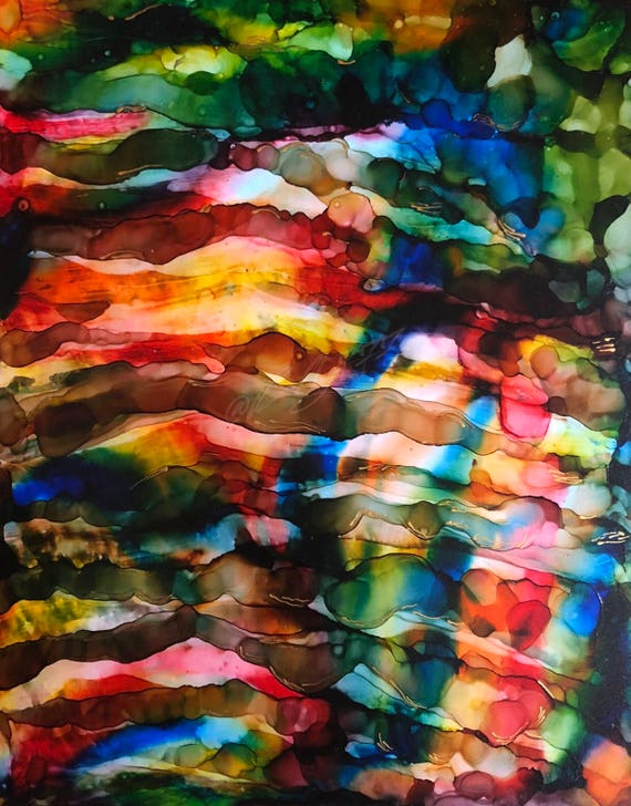 """Original Alcohol Ink Abstract Painting: """"Floating"""" (11"""" X 14"""")"""