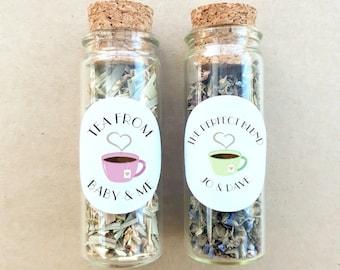 Tea Favour Cork Bottle - Personalised Favours, Custom Favours, Wedding Favours, Baby Shower Favours, Bonbonniere, Bridal Shower x 20