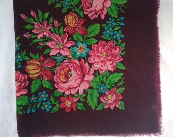 Vintage Ukrainian Wool floral shawl,Ukrainian scarf, Russian shawl, Wool floral scarf,maroon shawl, Floral scarf, made in USSR