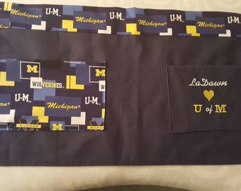"""I """"heart"""" U of M (University of Michigan) Personalized Embroidered  Half Apron with Pockets"""
