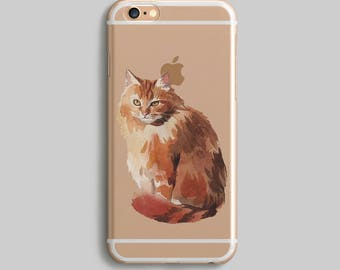 Ginger Cat iPhone 6S Case, Watercolor iPhone 7 Plus Case, Cute iPhone 5S Case, Cat iPhone 5C Case, Clear iPhone 6 Case, Silicone iPhone Case