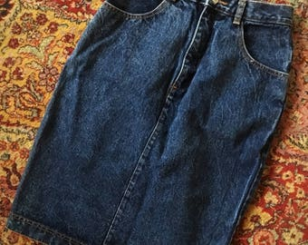 Jordache High Waist Mid Length Women's Dark Denim Skirt