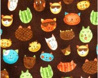 Novelty Cotton Fabric Quilting - Cats in Color