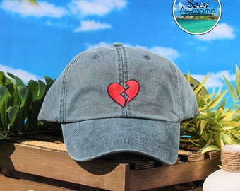 Broken Heart Embroidered Baseball Hat, Cute Red Broken Heart Hat, Cute Gift, Choose Your Own Color Hat, Low Profile Hat, Dad Hat