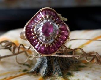 Estate 14K Yellow Gold Ruby & Diamond Ballerina Ring