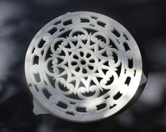 Trivet cast iron French vintage off white gorgeous, shabby chic