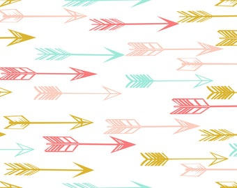 arrows fabric by Andrea Lauren -  coral pink mint yellow baby nursery kids