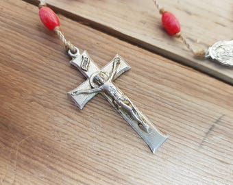 Vintage Rosary Light Wight Red Plastic Beads Virgin Mary Jesus Metal Crucifix Cross Antique First communion Prayer Confirmation Wedding