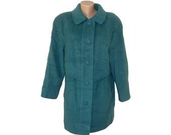 Vintage Kohler&Krenzer Wool and Cashmere by NESY women green-blue coat
