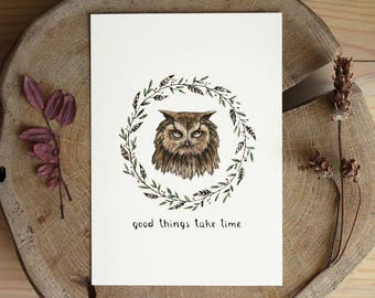 Greeting card with owl illustration. Motivational Inspirational quote. Forest animals.