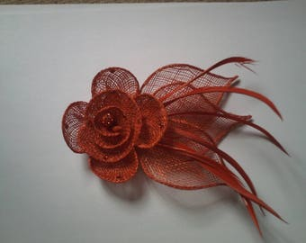 pretty flower and Red Feather hair clip