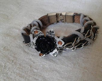 Black flower and leather cord bracelet