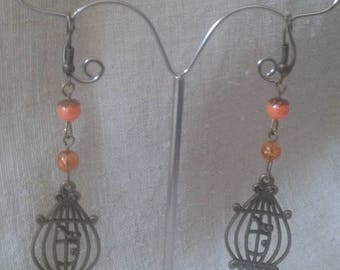 """Earrings """"cage and orange beads"""""""