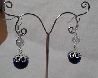 Earrings big blue bead