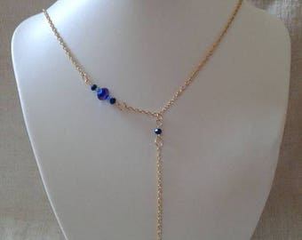 "necklace ""golden leaf and blue beads"""