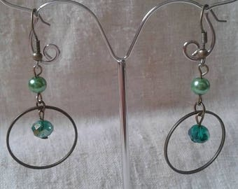 "Earrings ""circle bronze and Pearl"""