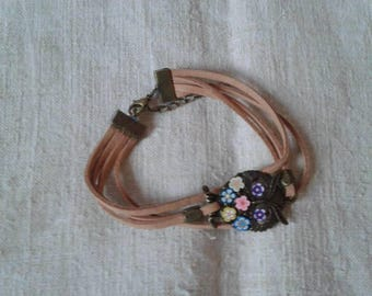 Bracelet OWL bronze and small flowers