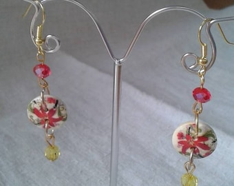 """original wedding beads and a button"" earrings"