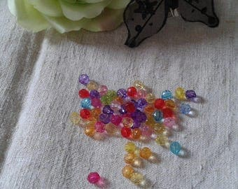 set of 50 multicolored faceted beads