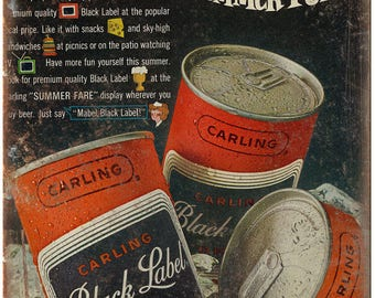 "10"" x 7"" Metal Sign Black Label Beer Carling Vintage Look Reproduction"