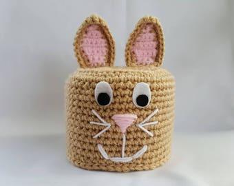 Crochet Easter bunny toilet paper roll cover, toilet roll sleeve, toilet tissue sleeve, toilet tissue cover, bathroom decor, bunny sleeve