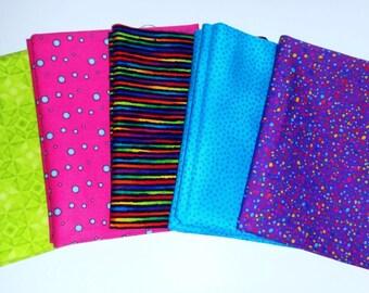 Fat Quarter Bundle, Polka Dots & Stripes Fat Quarter Fabric Bundle, Multi-Colored Fat Quarters, Set of 5